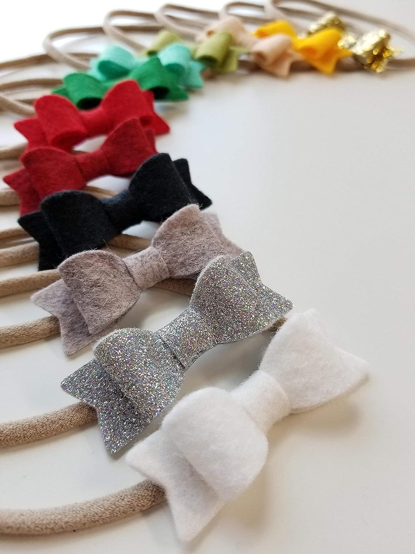 Cutestbows Mini Bow Headband Baby Newborn Headband Fabric Bow Nylon Headband