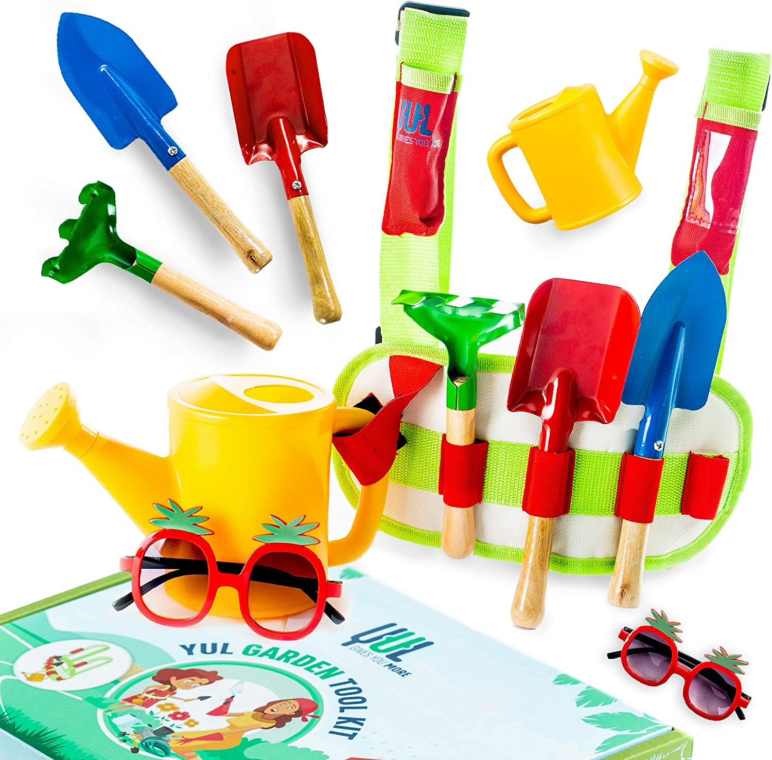 YUL Kid's Gardening Tool Set: Fun Child's Vest Carry Belt with Rake, Hoe, Shovel, Sunglasses, Watering Can, ID Pocket, Adjustable Straps, Velcro, Buckle, Ages 3 to 10