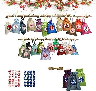 TUXUNQING 24 calendriers de lAvent /à remplir 24 Mini Pinces en Bois et Corde de Jute de 10 m Sacs pour calendriers de lAvent . Sacs-Cadeaux de No/ël Bleu
