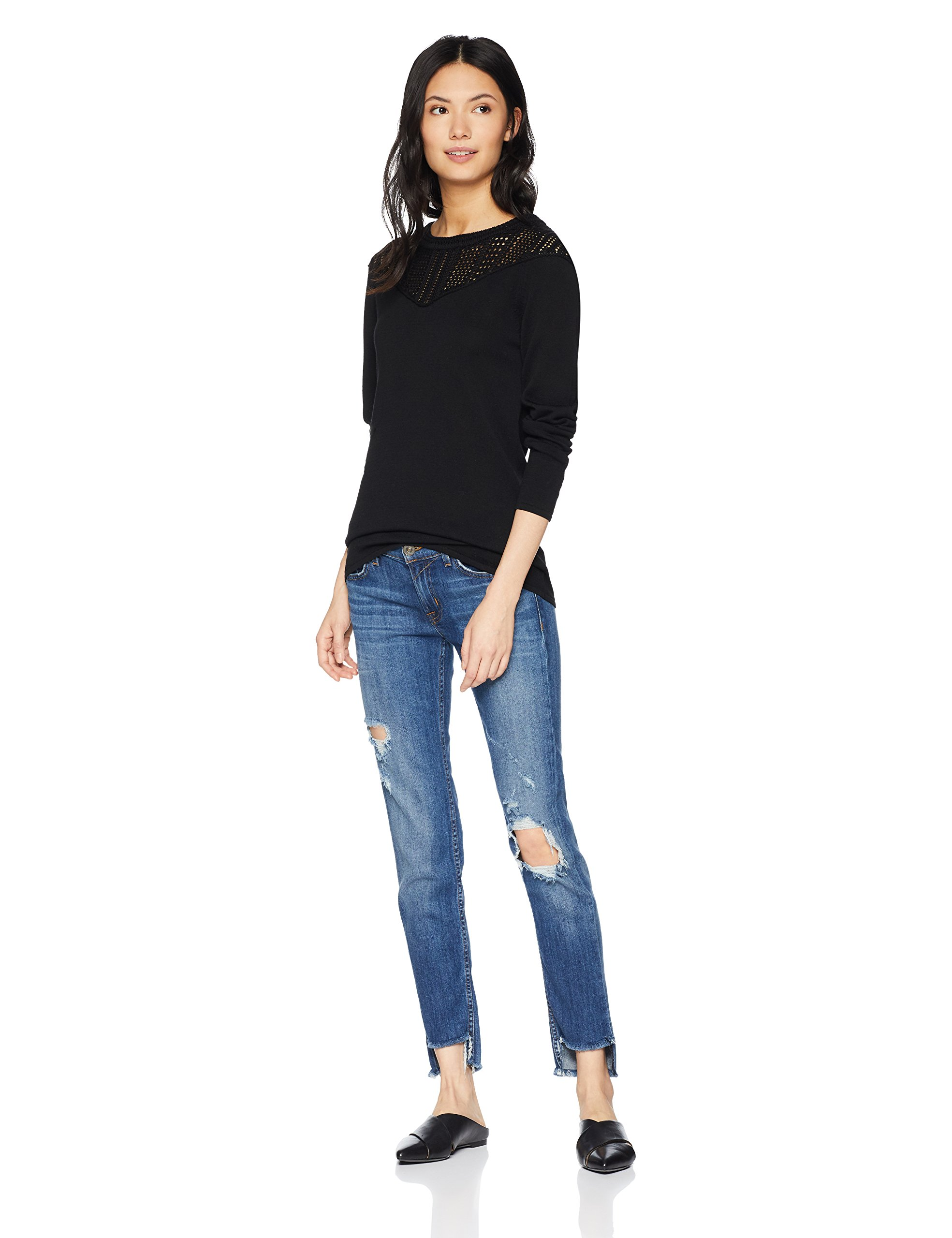 Cable Stitch Women's Pointelle Inset Sweater Black Large by Cable Stitch (Image #3)