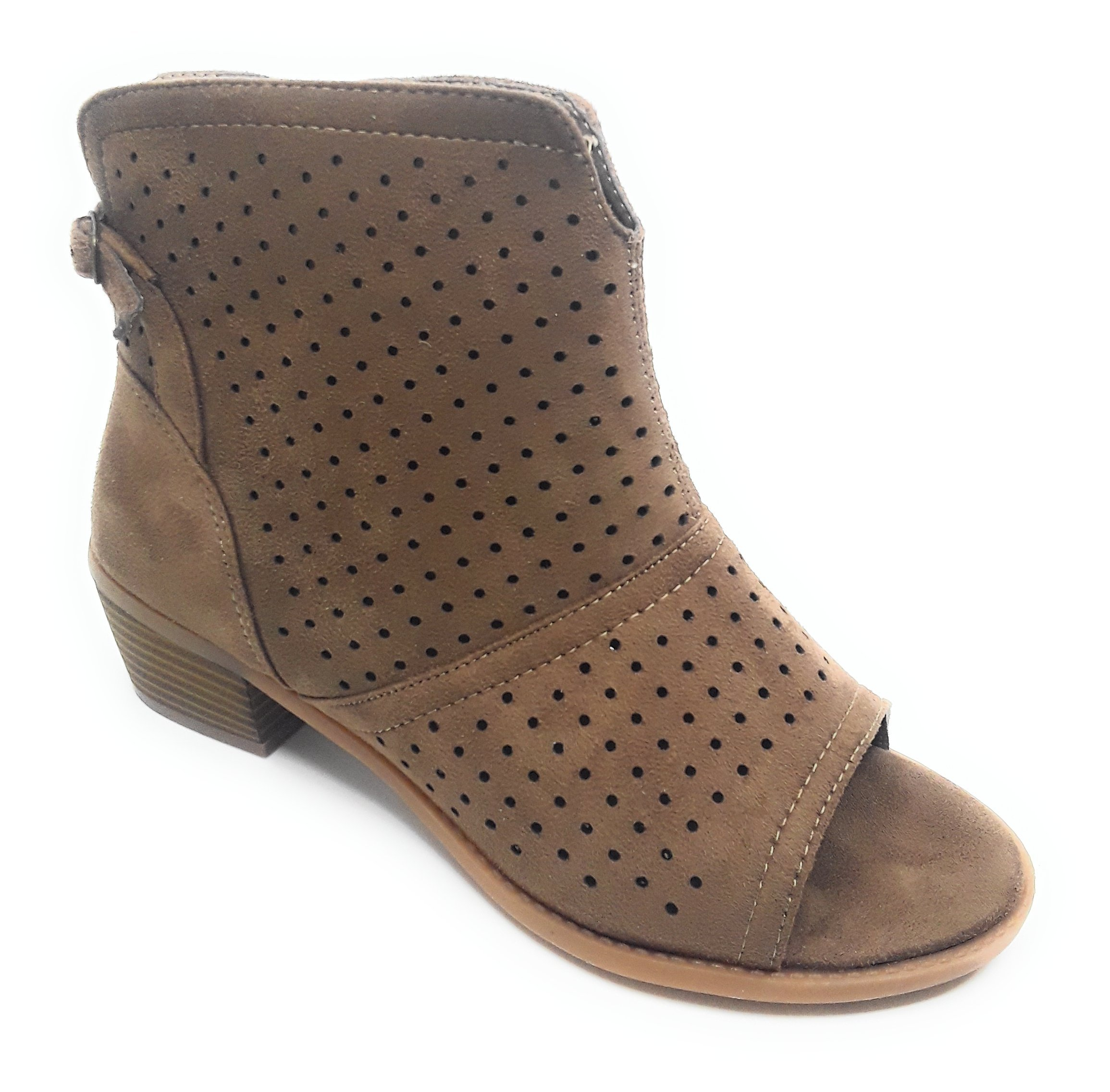 Size 12W Catherines Women's Open Toe Camel 1'' Heel Summer Boot