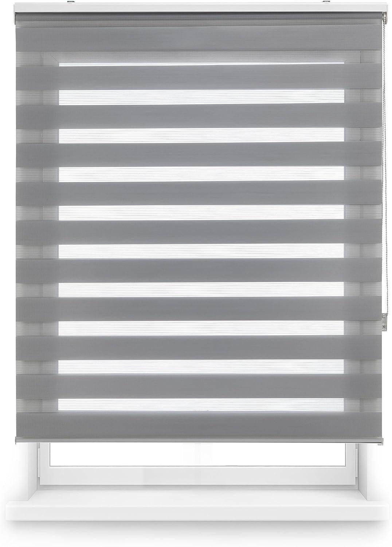 Blindecor Lira Estor Enrollable de Doble Capa, Noche y Día, Poliéster, Gris Plata, 120 x 250 cm (ancho x largo)