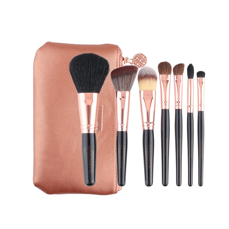 KRAUMETIK 7 pcs Makeup Brush Set Professional Premium Synthetic Kabuki Foundation Blending Blush Concealer Eye Face Liquid Powder Cream Cosmetics Brush Tool Brushes Kit with Rose Gold Pouch