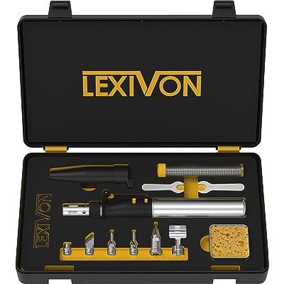 LEXIVON Butane Soldering Iron Multi-Purpose Kit | Cordless Self-Igniting Adjustable Flame 7-Tip Set | Pro Grade 125-Watt Equivalent (LX-770): Industrial & Scientific