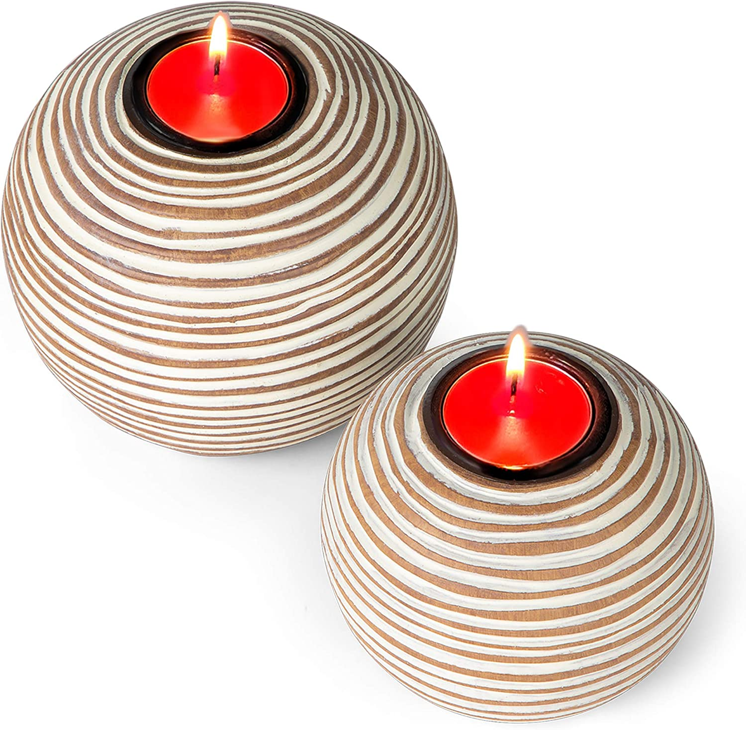 Gift Boxed Set of 2 Huey House Orb Candle Holders Light Brown Table Centerpieces for Dining or Living Room Spa Bathroom Kitchen Counter Mantle or Coffee Table Decor