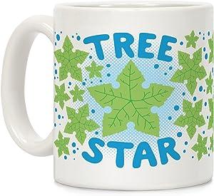 LookHUMAN Tree Star White 11 Ounce Ceramic Coffee Mug