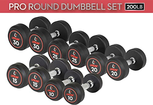 Lifeline . Pro Round Rubber Dumbbell Set