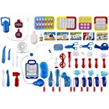 WolVol (Set of 45) Pretend & Play Doctor Set for Kids with Electric Stethoscope Toy and Medical Doctor's Equipment, Lights and Sounds