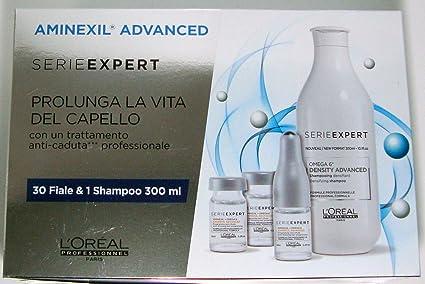 LOréal - Aminexil Advanced 2018 - Tratamiento anticaída profesional 30 ampollas + Champú 300