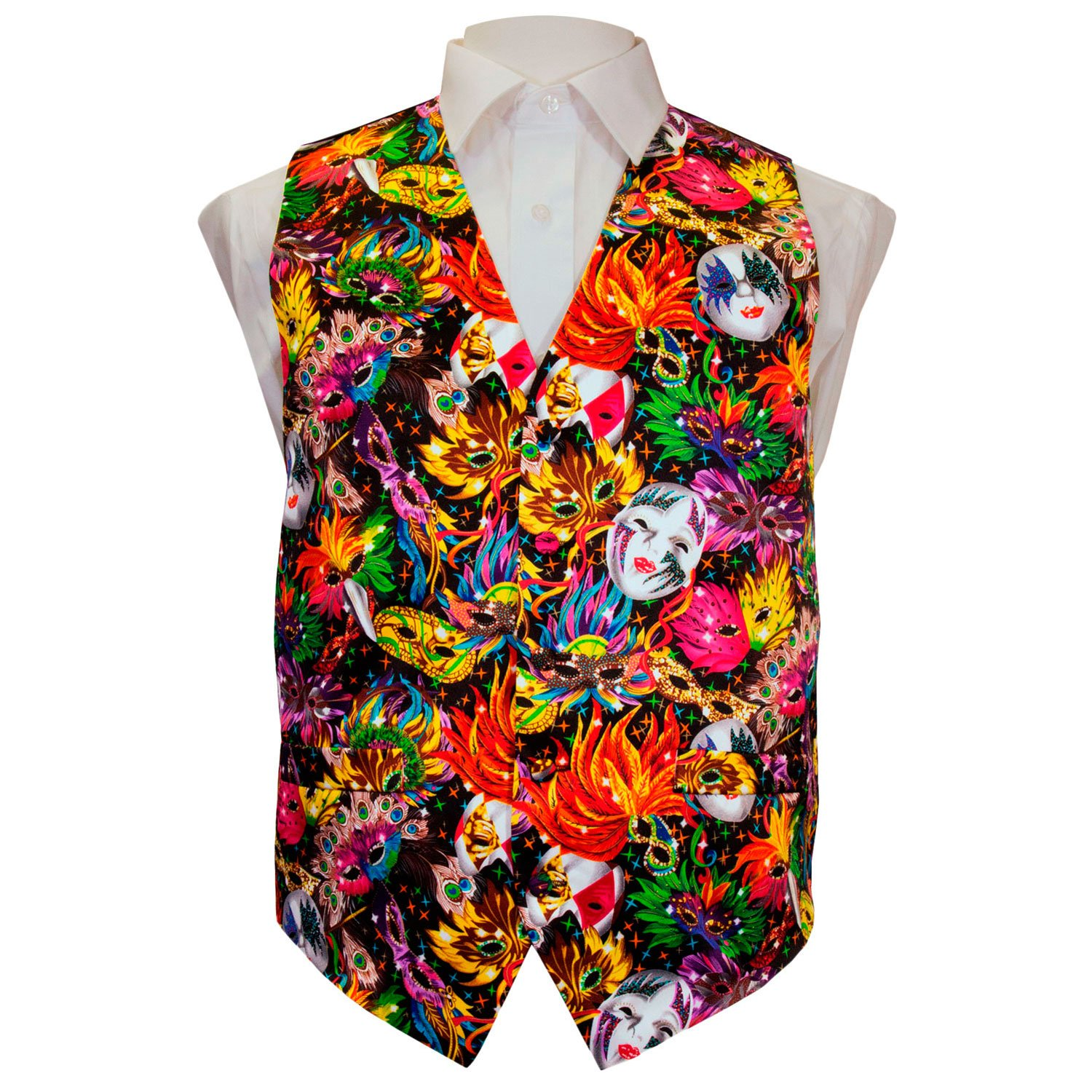 Vittorio Farina Mardi Gras Colorful Vibrant Party Mask Vest /& Bow Tie ONLY