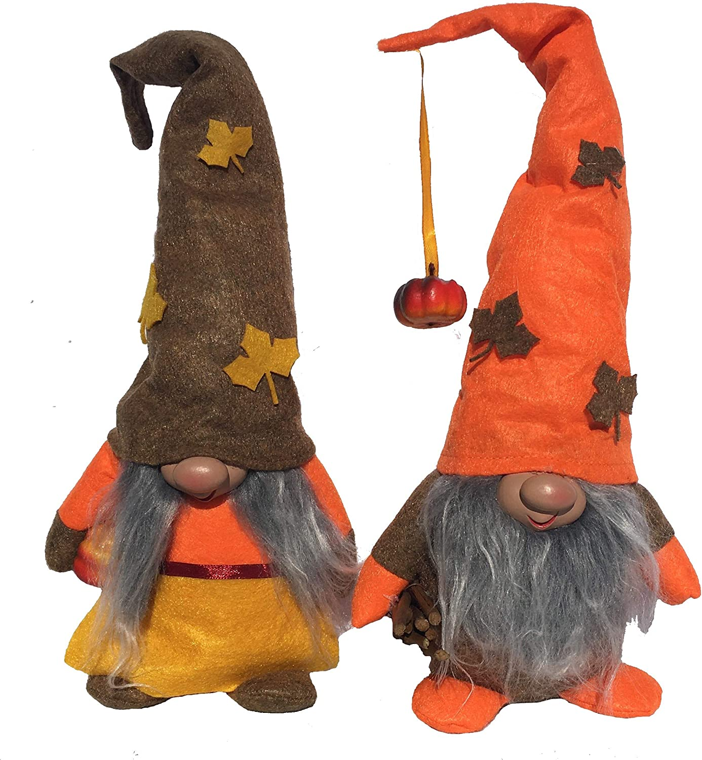 Thanksgiving Holiday Gnome | Swedish Tomte | Plush Scandinavian Nordic Style Nisse for Table Décor and Gift | Set of 2