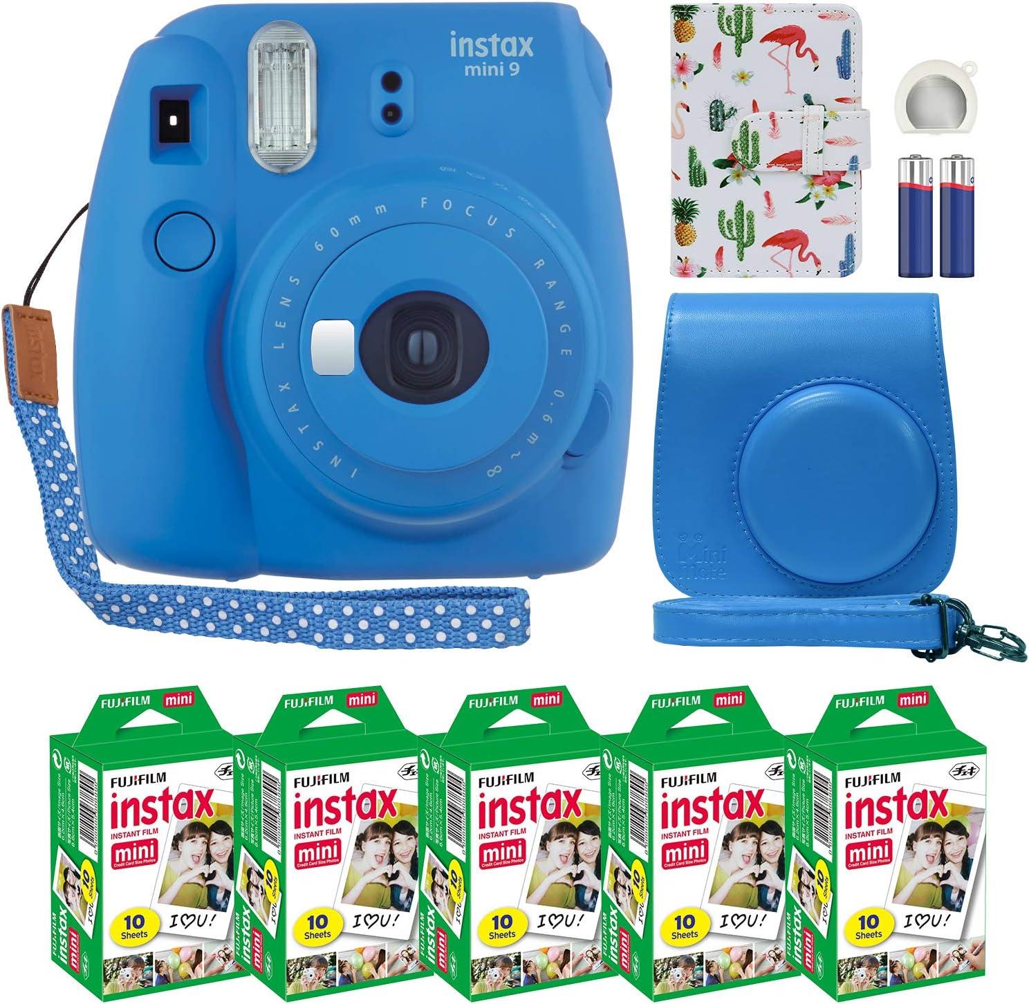 Fujifilm Instax Mini 9 Instant Camera Cobalt Blue with Custom Case + Fuji Instax Film Value Pack (50 Sheets) Flamingo Designer Photo Album for Fuji instax Mini 9 Photos
