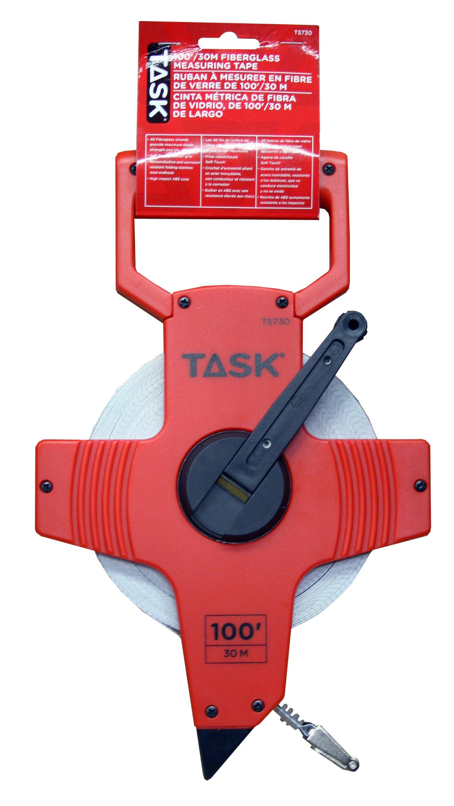 Task Tools TS730 100-Feet Open Reel Fiberglass Tape Measure