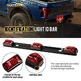 Partsam Red Clearance ID BAR Marker Light 3 Light 9 LED Trailer Sealed Stainless Steel, Sealed 3-Light Truck and Trailer Identification LED Light Bar Red Led Strip w/Black Base