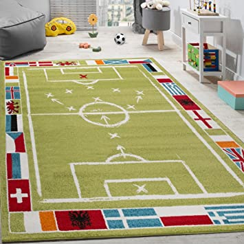 Paco Home Alfombra Infantil con Diseño De Campo De Fútbol De Velour Corto  Blanca Y Verde 6c1ee4086954c
