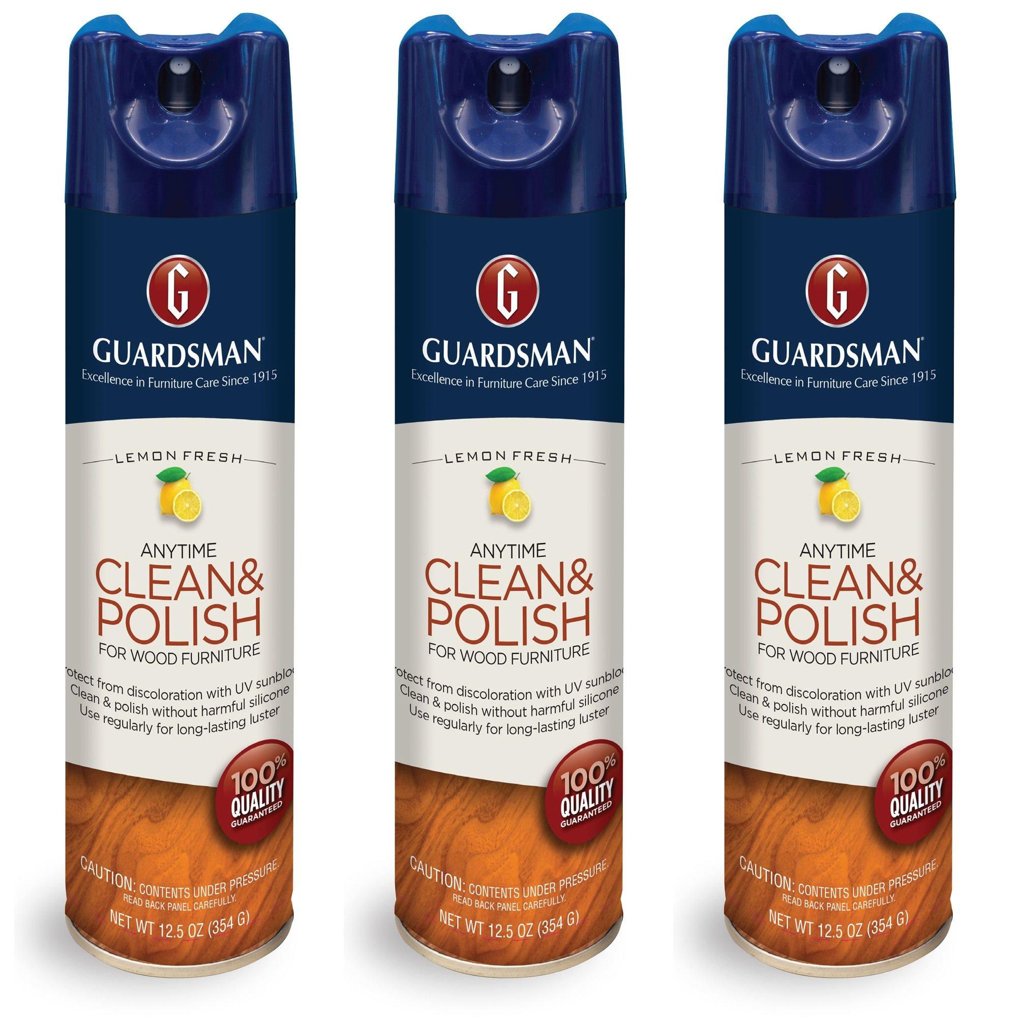 Guardsman Clean & Polish for Wood Furniture - LemonFresh - 12.5 oz, 3- Count - Silicone Free, UV Protection