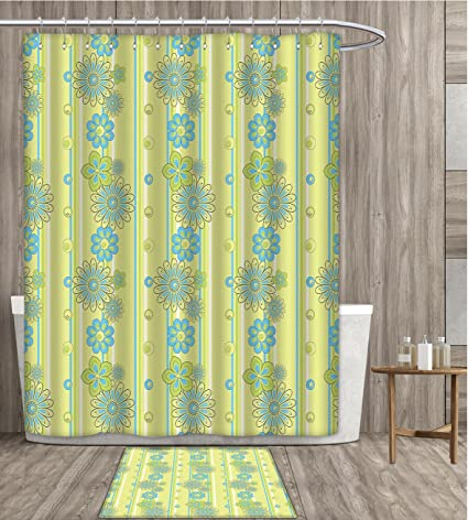 SmllmoonDecor Yellow And Blue Shower Curtain Sets Bathroom Blooming Ornate Flower Motifs Vertical Stripes Dots Satin