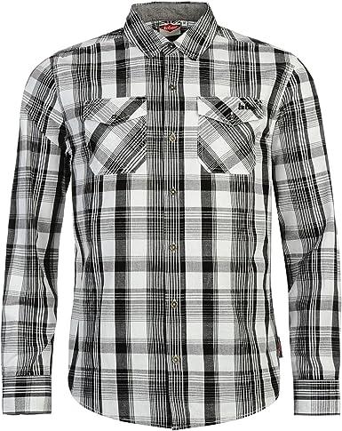 Lee Cooper - Camisa de manga larga para hombre Gris/Noir/Blanc S: Amazon.es: Ropa y accesorios
