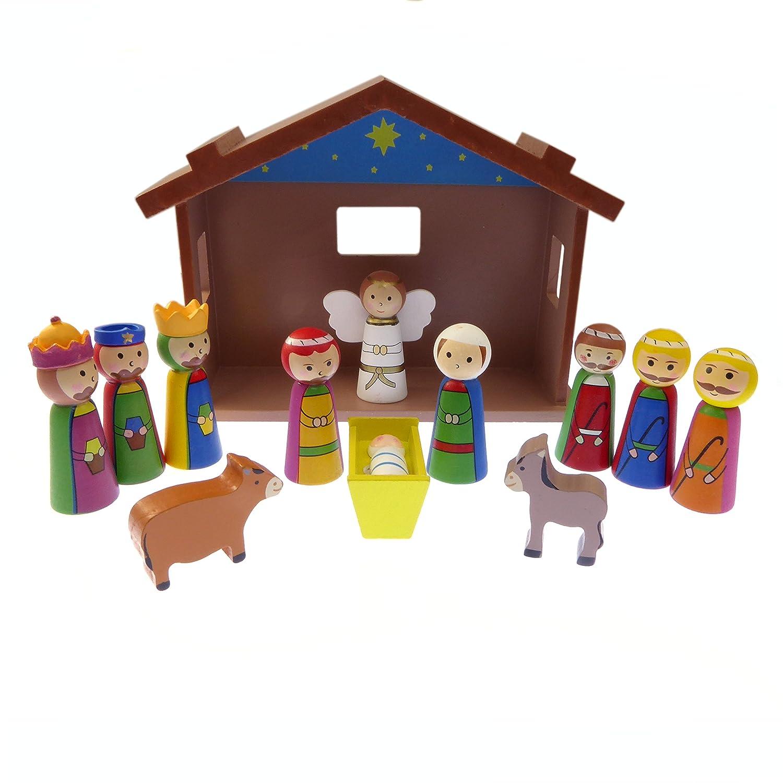 Childrens Kit creche de noel D/écoration de jardin en bois avec J/ésus 12 pi/èces