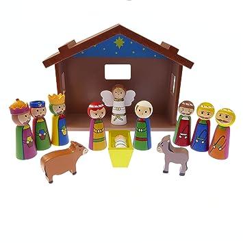 Infantil Navidad Escena natividad juego adorno madera caseta Jesús 12 unidades: Amazon.es: Hogar
