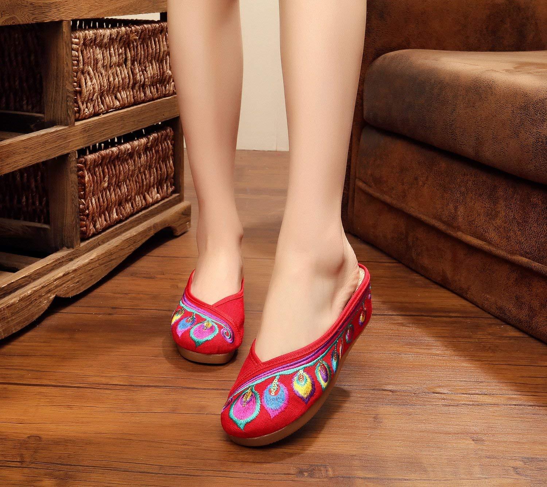 Fuxitoggo Bestickte Schuhe Sehnensohle Ethno-Stil Damen-Flip-Flop Mode Komfortabel Erhöhte Sandalen Sandalen Sandalen Rot 39 (Farbe   - Größe   -) 7200c5