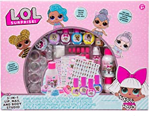 L.O.L. Surprise! 3-in-1 Lip Nail & Body Studio by Horizon Group USA, Wear & Share Unique Nail Art, Glosses & Hydrating Lotions, Multicolor
