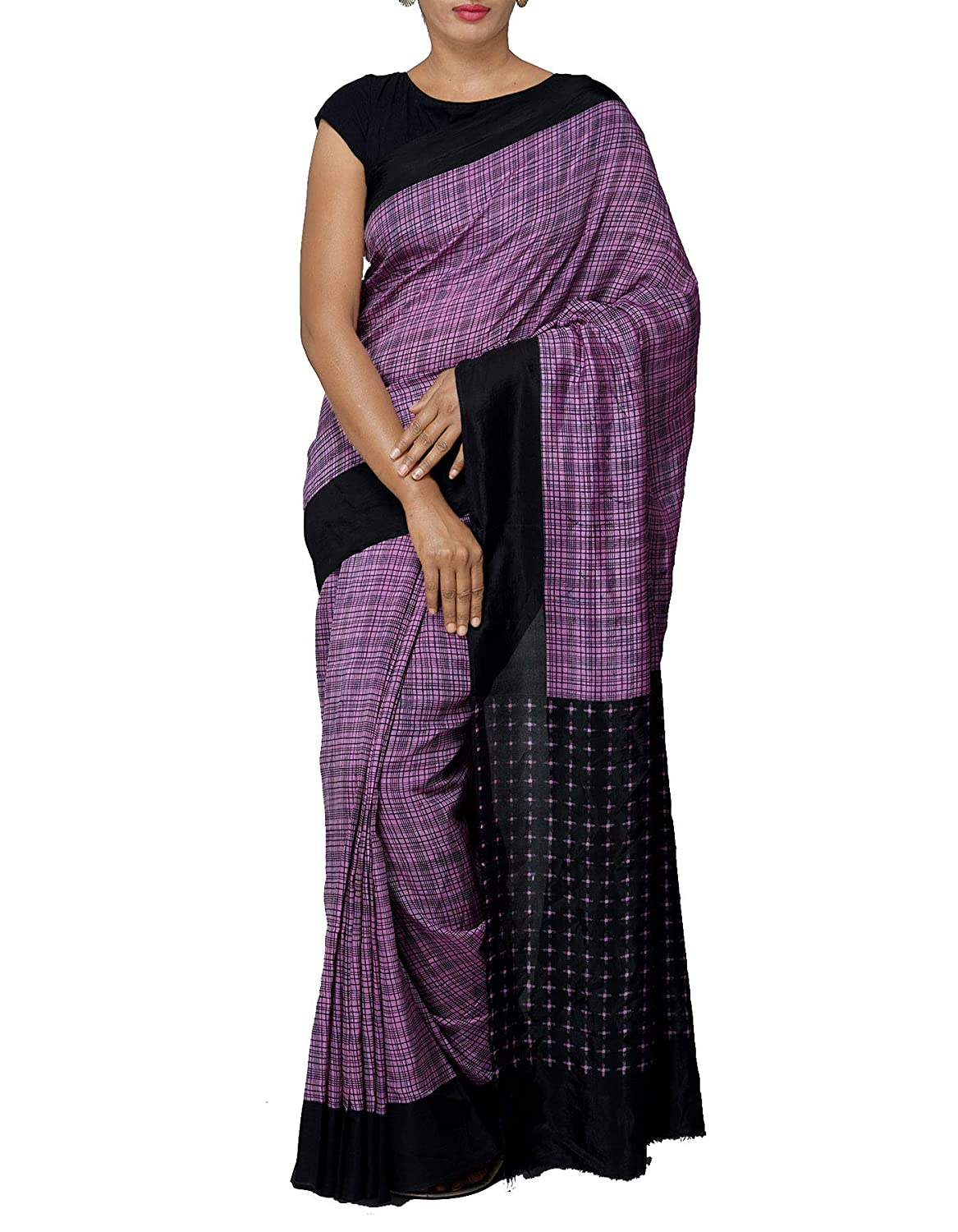 ca0dd1407bdae ... Soft Silk Saree With Checks saree with blouse piece from the Weavers of  West Bengal (UNM27360+ Purple+Free size)  Amazon.in  Clothing   Accessories