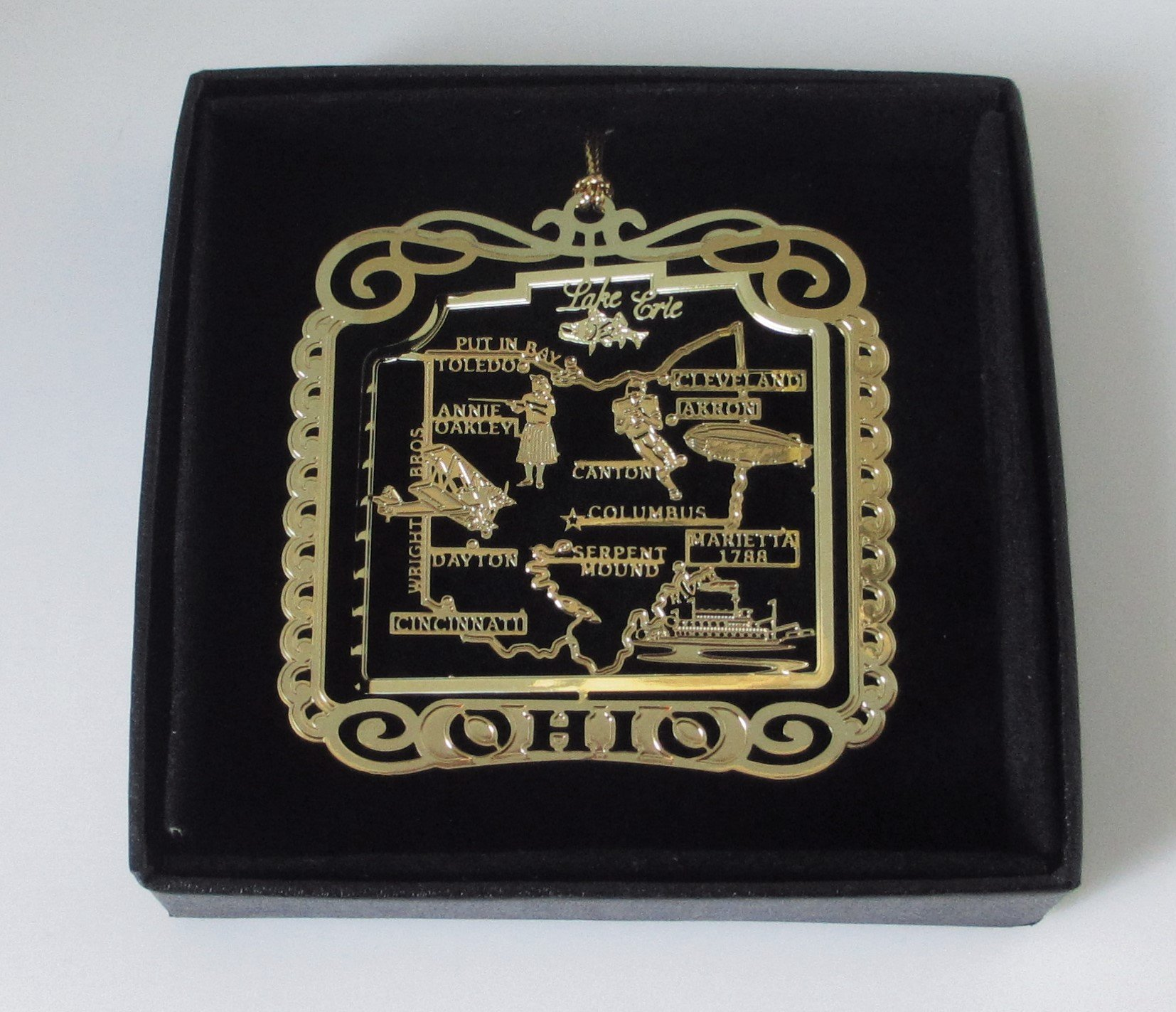 Ohio State Brass Christmas Ornament Black Leatherette Gift Box