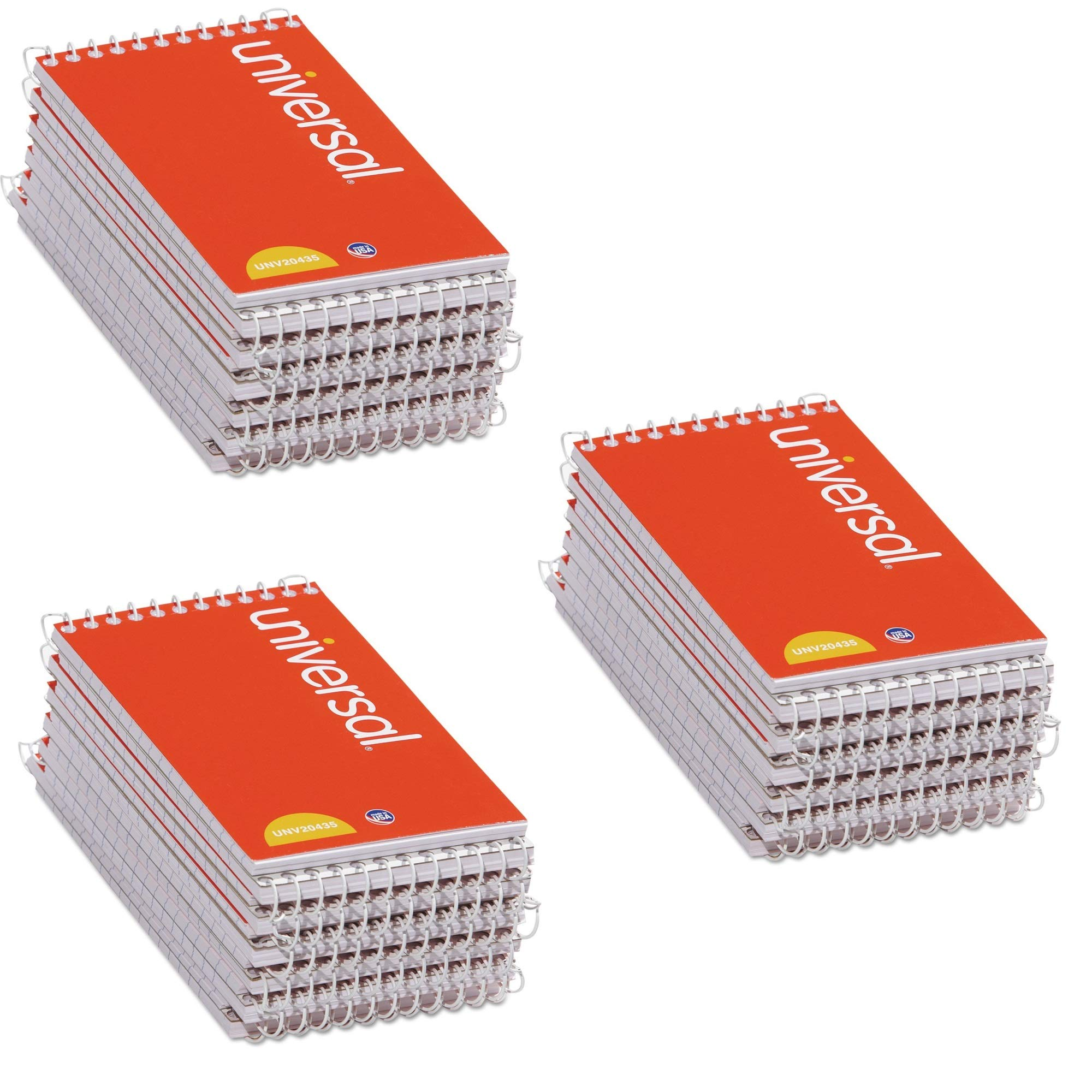 Universal 3x5-Inch Narrow Ruled Wirebound Memo Book, 12 per Box (UNV20435-CL), 3 PACK