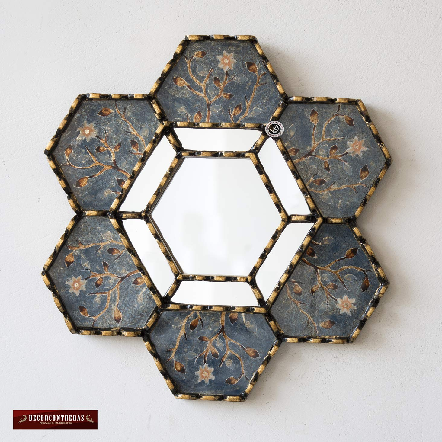 Handpained glass mirror 11.8 for wall art decor Peruvian Accent Hexagon Accent Wall Mirrors set 3 Small Decorative Accent Mirror with gold leaf,Colorful Blossoms