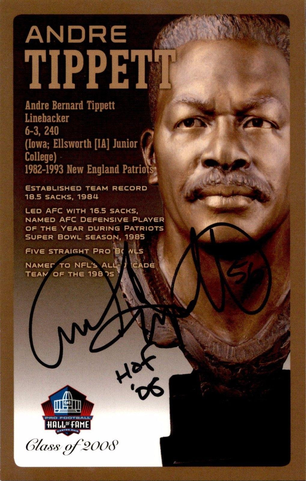 Andre Tippett Iowa Patriots Signed NFL Hall Of Fame Bronze Bust Postcard /150 NFL Cut Signatures