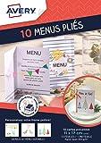 Avery Lot de 10 Menus Pliés Imprimables - 17x11cm - Impression Jet d'Encre - Blanc (C2362MC)