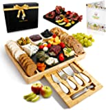 Bamboo Cheese Board Set with Cheese Knife Drawer, Ceramic Bowls, Serving Forks and Removable Slate Board - Premium…