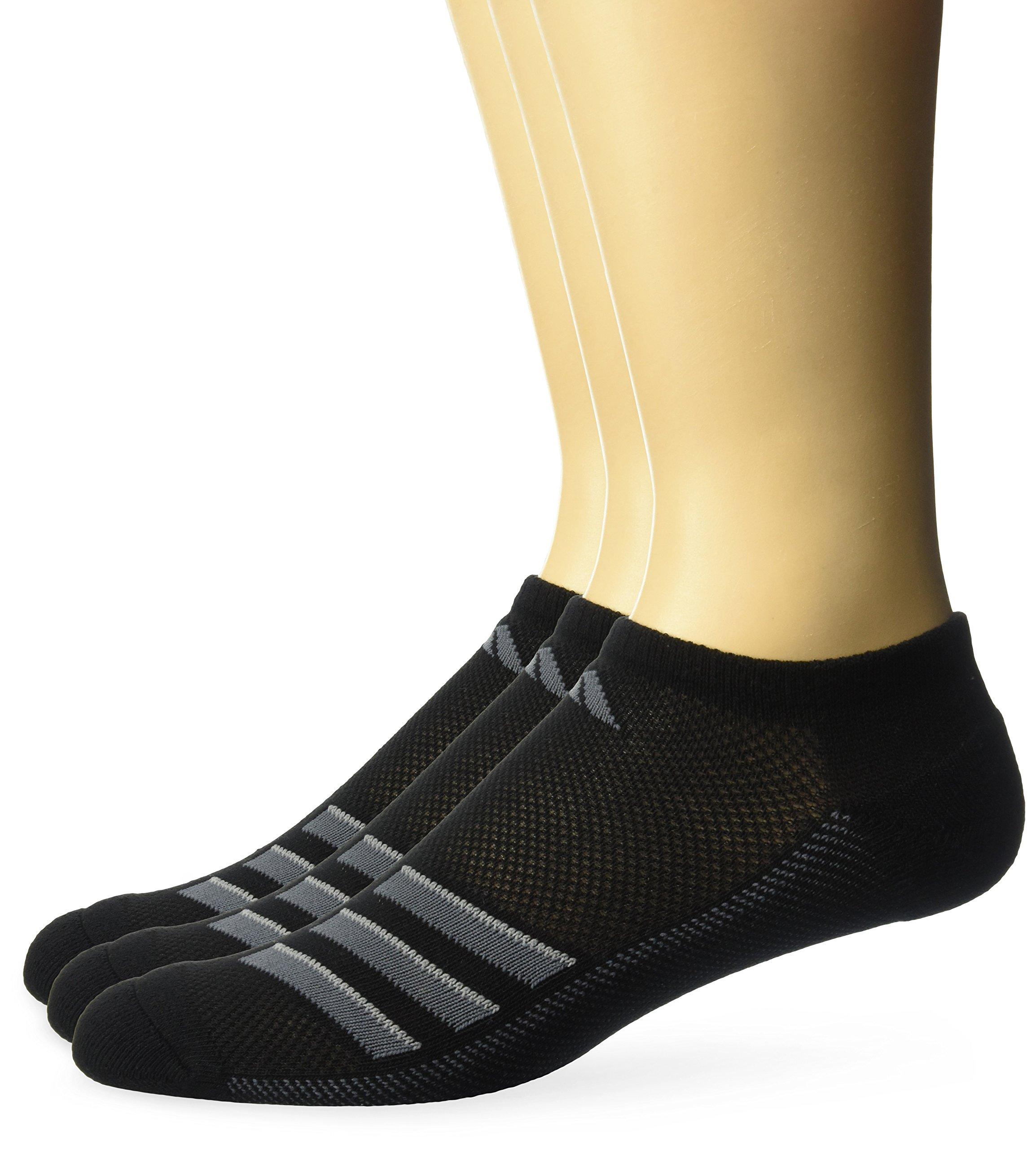 adidas Men's Climacool Superlite No Show Socks (3-Pack), Black/Onix/Light Onix, Size 6-12