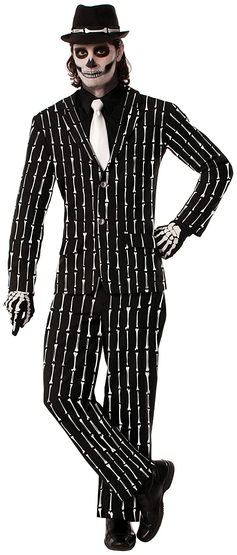 Skeleton Bones Pin Stripe Suit Adult Costume X-Large