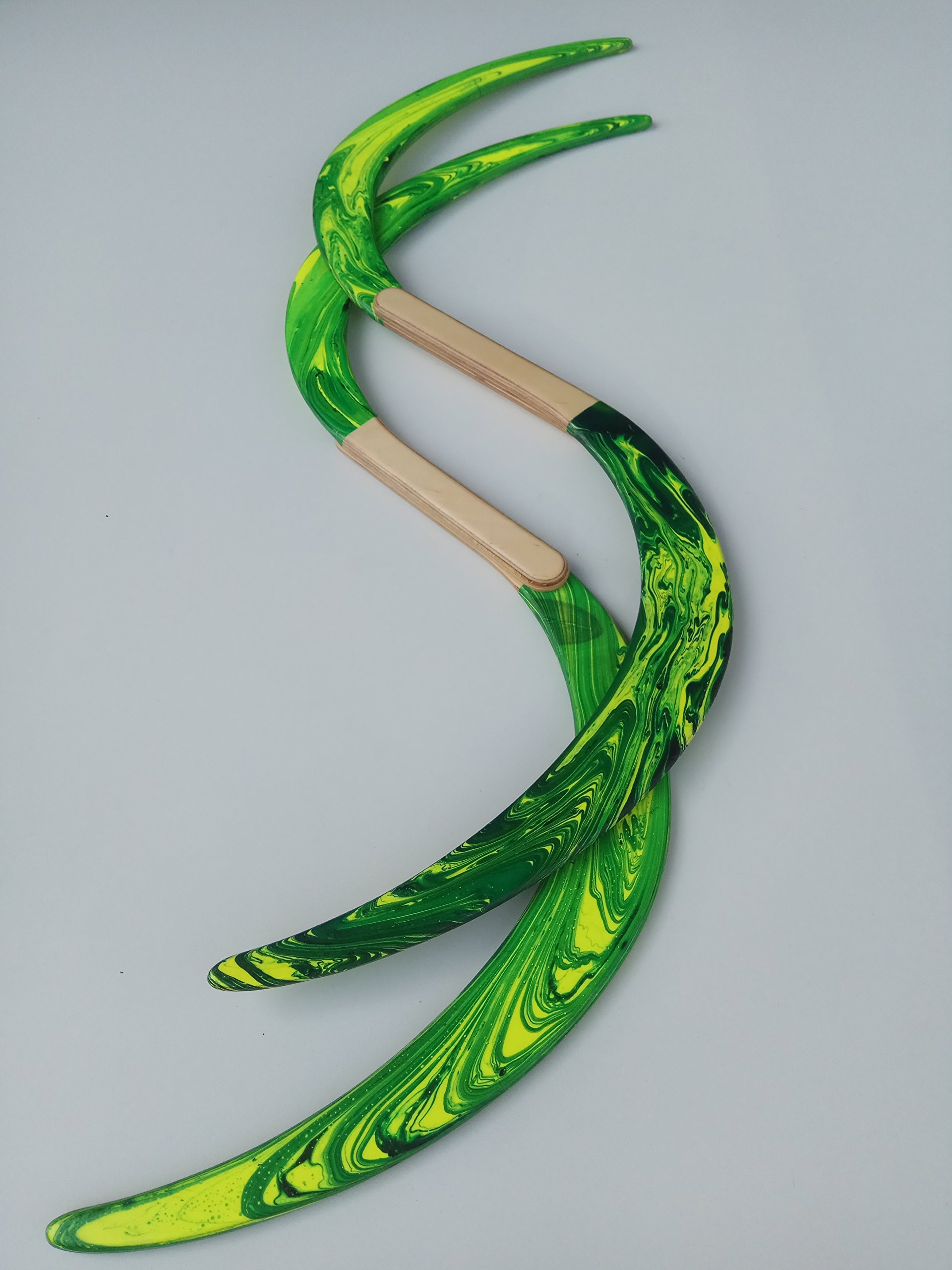 Swirl Buugeng Juggling S Staff S Staves Bugeng Hand Made 2 Pieces Yellow and Green Glows in UV Carry Bag by Buugeng Flow Master J.A.H (Image #4)
