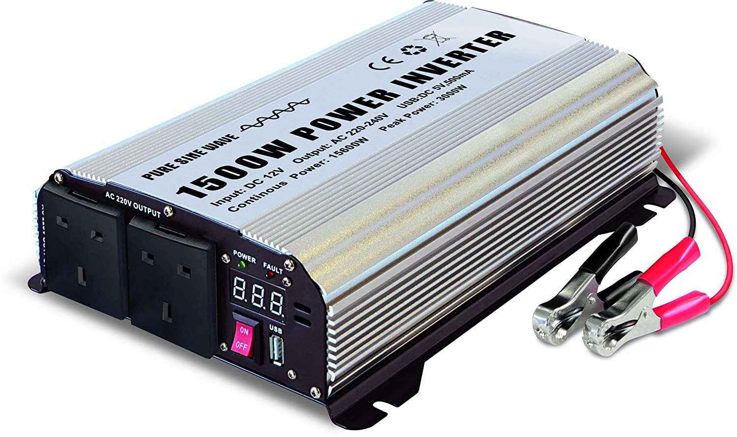 GYS PSW 81500 12-240V 1500W Power Inverter with 2 x 3-Pin Plug Socket and USB Port