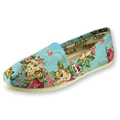 A&A Vegan Floral Light Blue Slip-on Casual Flats Canvas Shoes Alpargatas for Women (