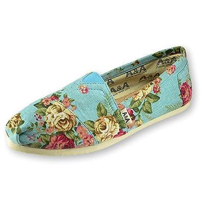e14929abeaf A A Vegan Floral Light Blue Slip-on Casual Flats Canvas Shoes Alpargatas  for Women (
