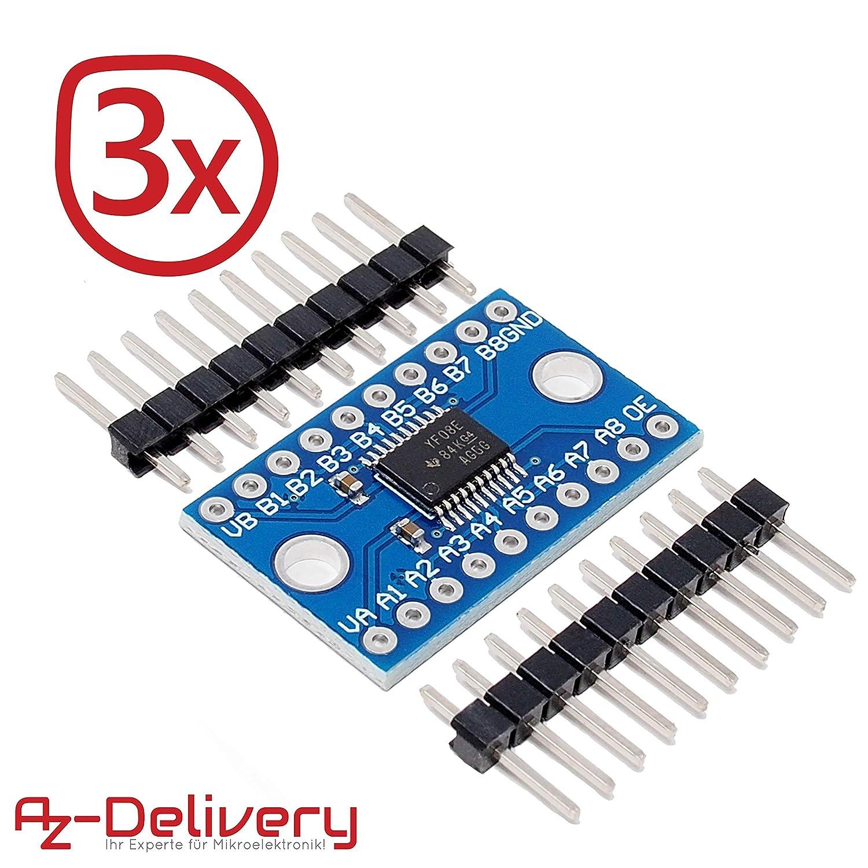 AZDelivery TXS0108E Logic Level Converter 8 channels for Arduino and Raspberry Pi including E-Book!