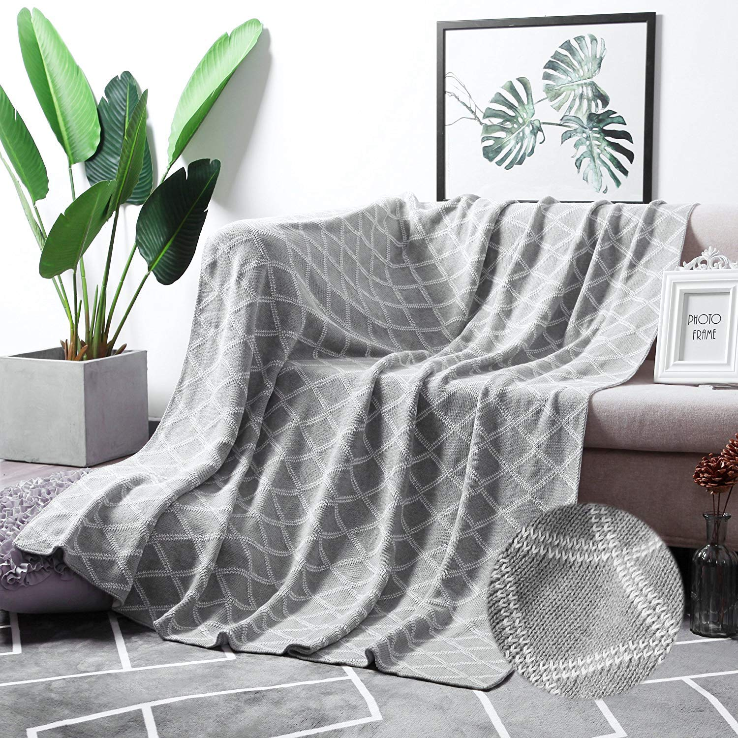 MoMA 100% Cotton Light Grey Cable Knit Throw Blanket for Couch Bed Sofa Chair, Gray White Stripe Reversible Decorative Knitted Blankets,51''x 63'' Size