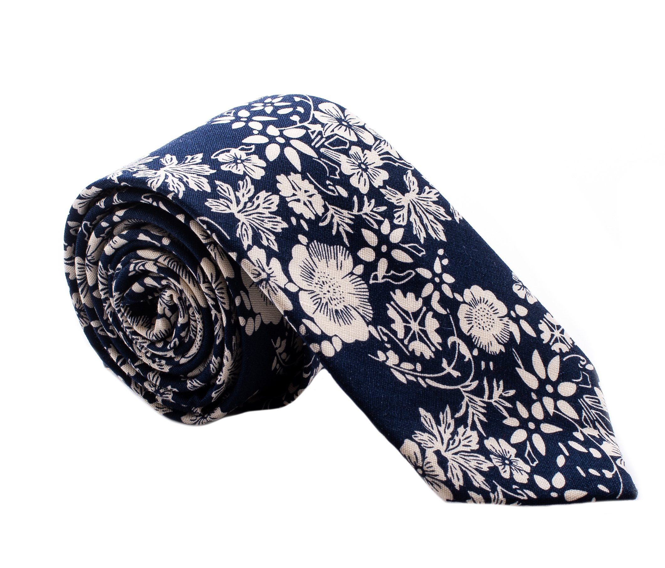 Tie - Floral - Navy Blue