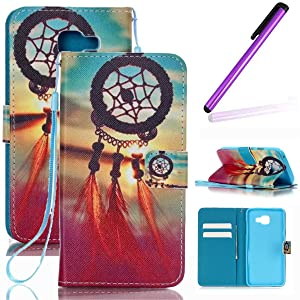 Samsung Galaxy A3 (2016) Wallet Case,LEECO Galaxy A310 Card Slots Kickstand Wallet PU Leather Protects Case Magnetic Closure Folio Cover for Samsung Galaxy A3 2016 Red Wind chime
