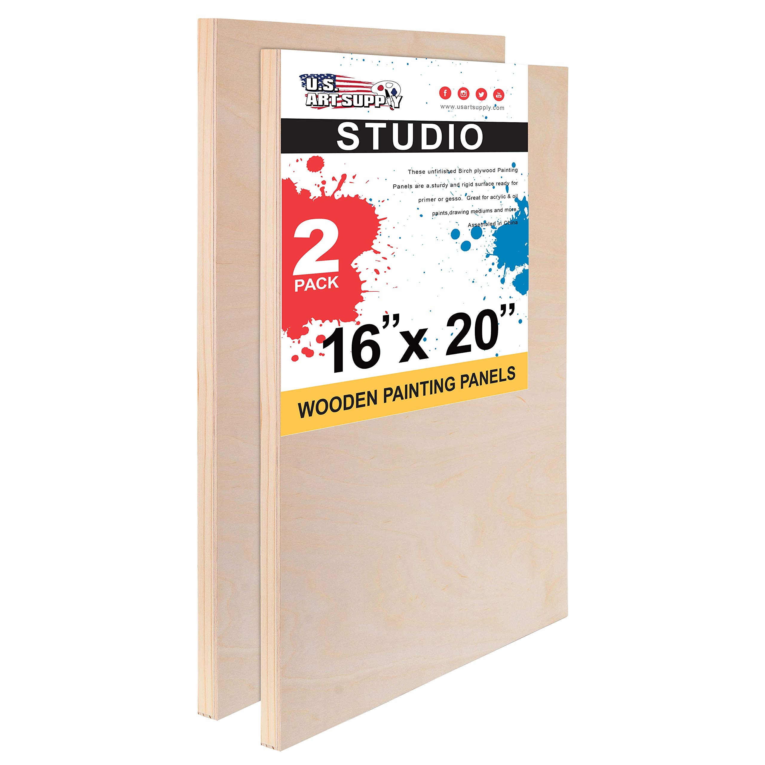 U.S. Art Supply 16'' x 20'' Birch Wood Paint Pouring Panel Boards, Studio 3/4'' Deep Cradle (Pack of 2) - Artist Wooden Wall Canvases - Painting Mixed-Media Craft, Acrylic, Oil, Watercolor, Encaustic by U.S. Art Supply