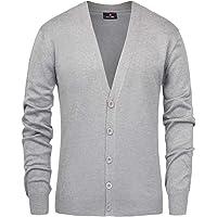 Paul Jones Men's Stylish V-Neck Button Placket Cardigan Sweater with Ribbing Edge