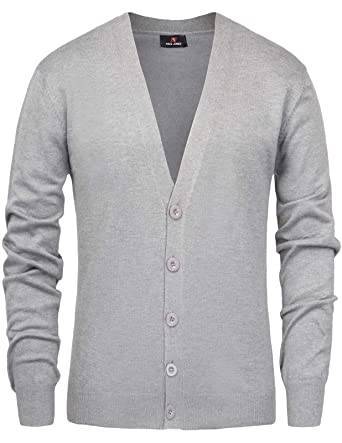 67810a70ab PJ PAUL JONES Men s Long Sleeve V Neck Button Closure Ribbed Edge Cardigan  Sweater(S