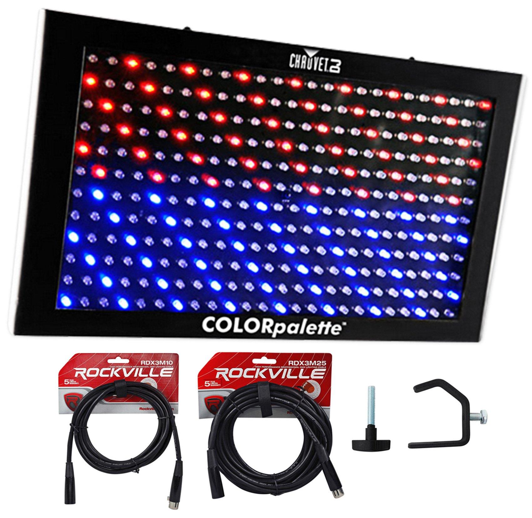 Chauvet DJ ColorPalette Panel Stage Wash Light+DMX Cables+Clamps Color Palette