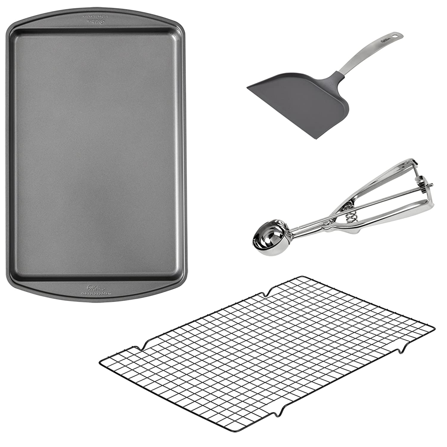 Wilton Cookie Baking Set 4-Piece -  17.25 x 11.5-Inch Non-Stick Cookie Sheet -  16 x 10-Inch Non-Stick Cooling Rack, Non-Stick Spatula, and Stainless Steel Cookie Scoop 2109-8810