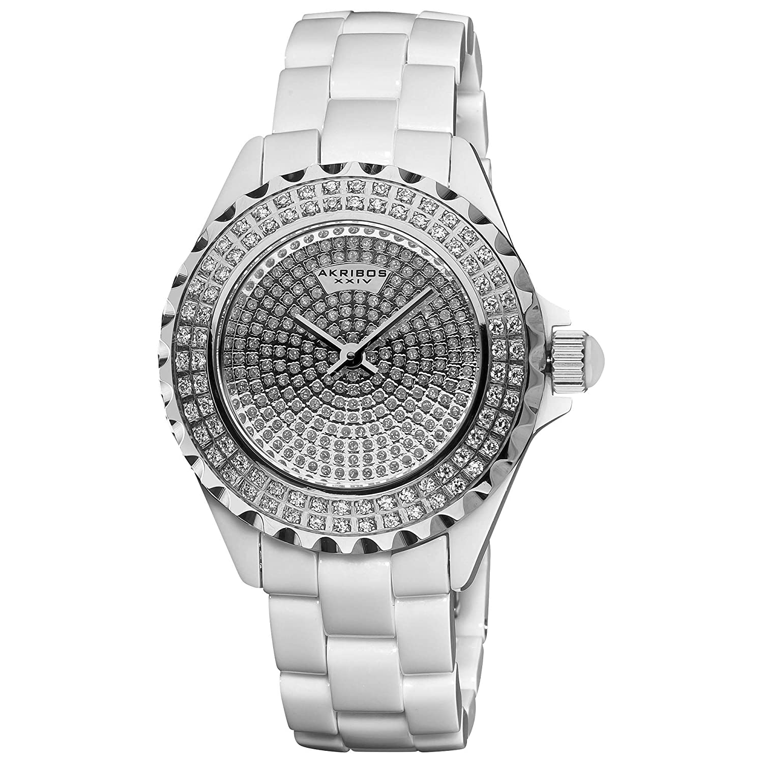 Akribos XXIV Women s Lady Diamond Luxury Watch Collection – Unidirectional Rotating Crystal Filled Bezel and Dial on Ceramic Link Bracelet – AK457