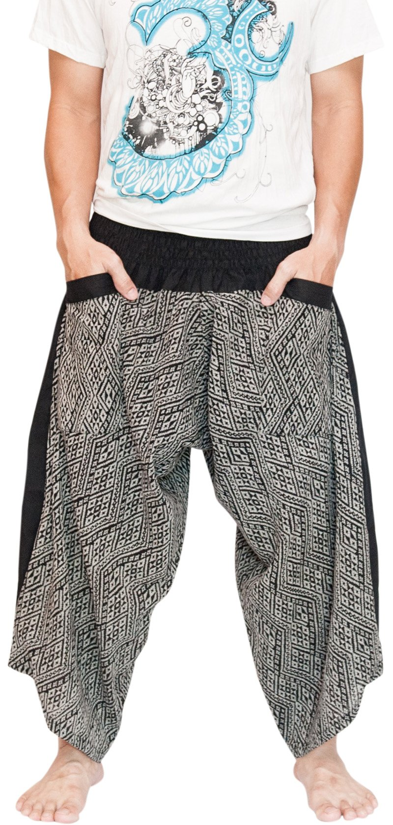 BohoHill Ninja Samurai Harem Pants Unisex Active Trousers Diamond Weaving Black